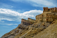Sandstone Cliffs With Mudstone Outcrops On Mountain Garfield Grand Junction, Mesa, County, Colorado, USA