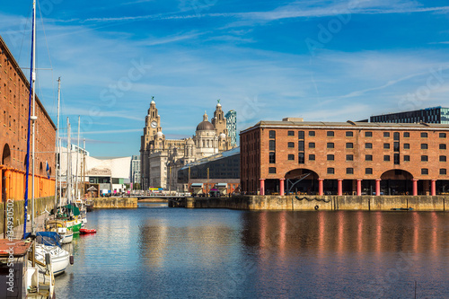 Albert Dock and Three Graces building in Liverpool Canvas Print
