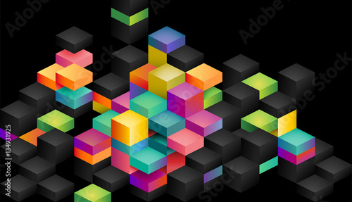 Colorful blocks on a black background, eps10 vector