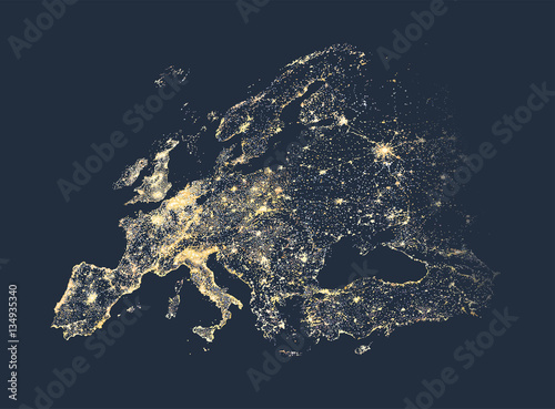 Europe city and communication lights map vector illustration Fototapete