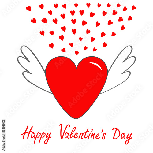 Happy Valentines Day Red Heart With Wings Cute Cartoon Contour