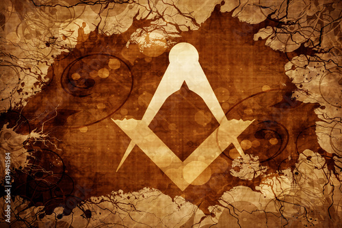 Grunge vintage freemason symbol Tablou Canvas