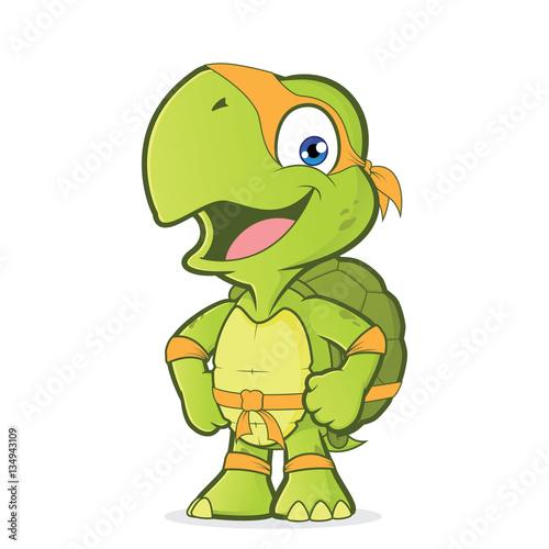 Fotografie, Obraz  Smiling superhero turtle