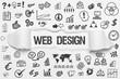 Web Design / weißes Papier mit Symbole
