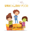 Junk Food Harmful Effects Cartoon Poster