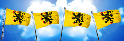 Fototapeta Nord pas de calais flag, 3D rendering