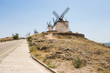 CONSUEGRA, SPAIN . JUNE 24, 2016 Group of windmills in Campo de Criptana. La Mancha, Consuegra, Don Quixote route, Spain, Europe