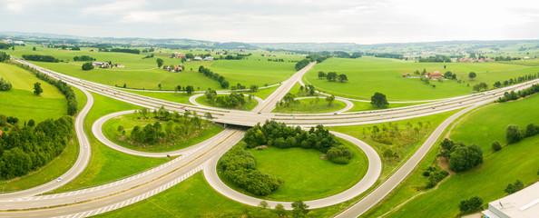 Autobahnkreuz, widok z lotu ptaka