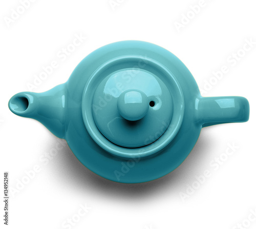 Fotografía Blue ceramic teapot isolated on white background, top view