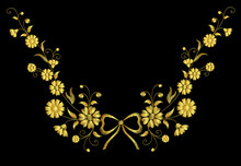 Embroidery Flower Necklace Ornament Field Rustic Gold Vintage Bow
