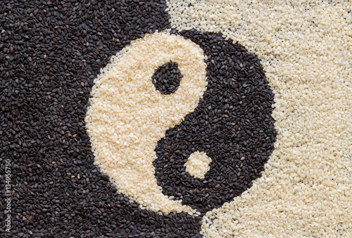 Obraz na plátně  Yin Yang sign with black Sesame Seeds and  white Sesame Seeds Co