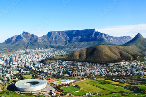 Aluminium Prints Blue Aerial view of Table mountain in Cape Town