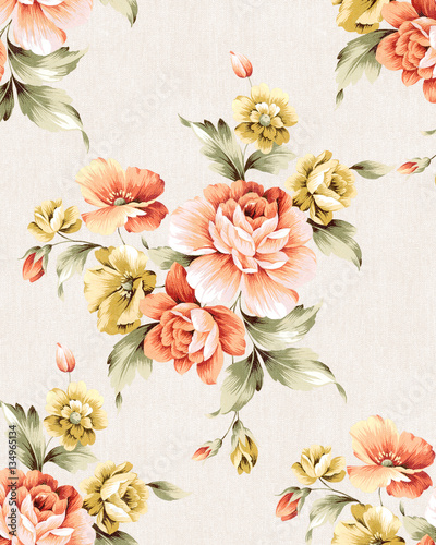 Fotoposter Vintage Bloemen Fresh spring flowers seamless pattern - For easy making seamless pattern use it for filling any contours