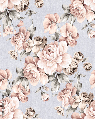 Deurstickers Vintage Bloemen Fresh spring flowers seamless pattern - For easy making seamless pattern use it for filling any contours