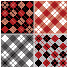 Argyle-Plaid Pattern In Red An...