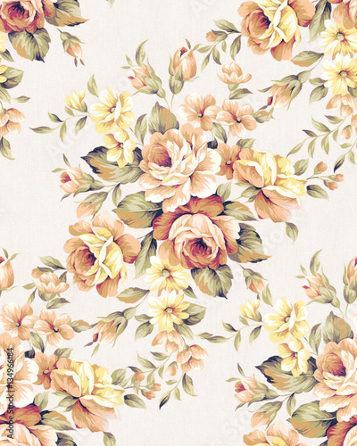 Fleurs Vintage Fresh spring flowers seamless pattern - For easy making seamless pattern use it for filling any contours