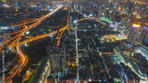Cityscape Bangkok skyline in middle,Thailand Tablou Canvas