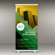 roll up banner design in yellow and green color for presentation