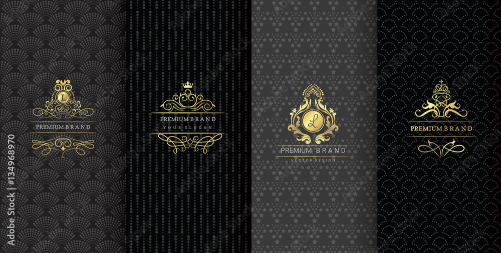 Fototapeta  Collection of design elements,labels,icon,frames, for packaging,design of luxury products.Made with golden foil.Isolated on black background. vector illustration