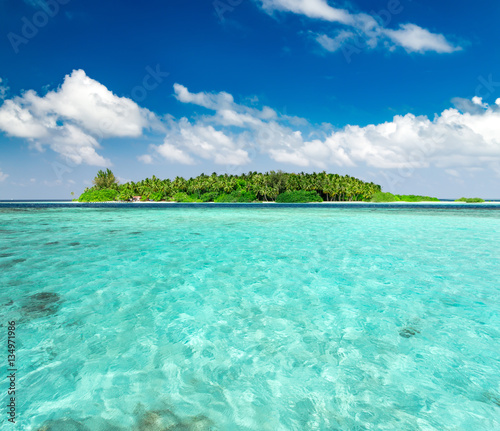 Foto op Canvas Groene koraal Beautiful nature landscape of tropical island at daytime, Maldives