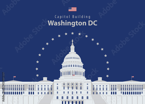 Fototapeta Vector illustration Capitol Building in Washington DC