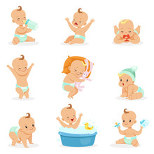 Adorable Happy Baby And His Daily Routine Series Of Cute Cartoon Infancy And Infant Illustrations