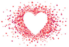 Heart Shape Vector Pink Confetti Splash With White Heart Hole