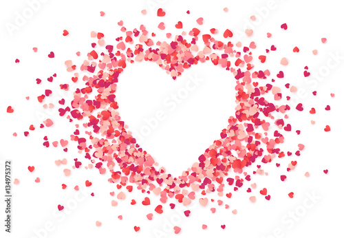 Fotografie, Obraz  Heart shape vector pink confetti splash with white heart hole
