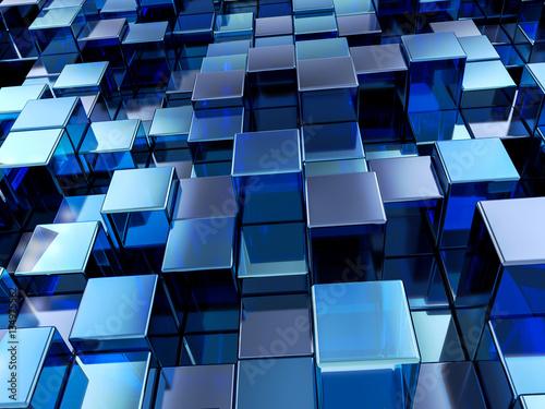 fototapeta na lodówkę Abstract blue cubes background