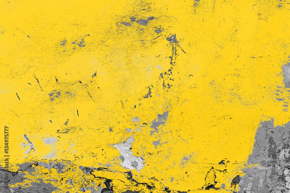 Fototapeta Yellow vintage wall, background, texture