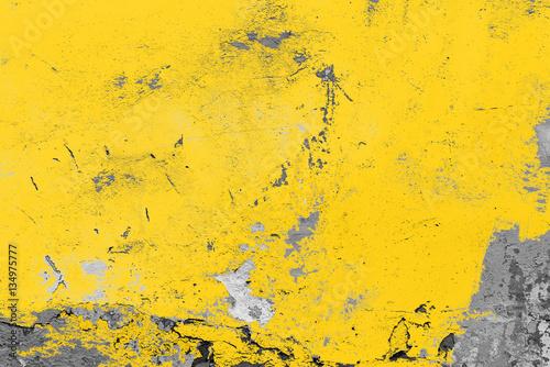 Obraz Yellow vintage wall, background, texture - fototapety do salonu