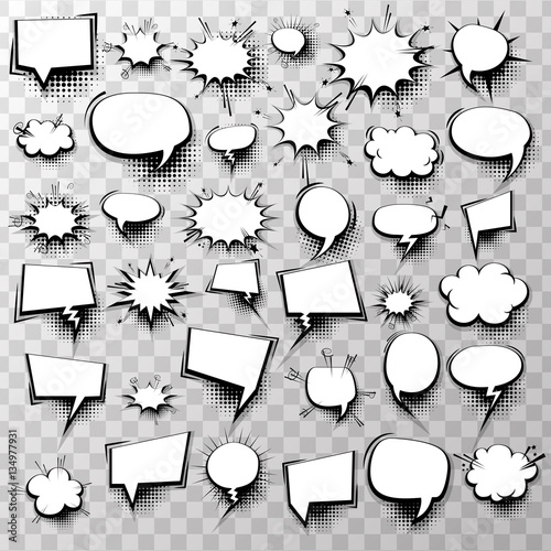 Tuinposter Pop Art Big set 36 blank effects template comic speech bubbles halftone dot background style pop art. Comic dialog empty cloud, space text style pop art. Creative idea conversation comic sketch explosion