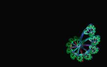 Green Blue Spiral Fractal Black