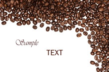 Coffee Beans Background, Roasted Coffee Beans On A White Background, Top View, A Flat Pattern, Space For Text.