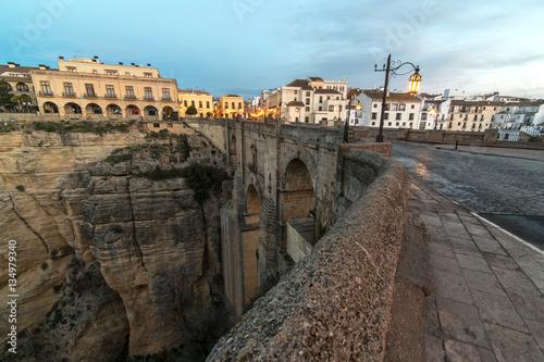 Foto op Aluminium Grijze traf. New Bridge in Ronda in sunrise. Andalusia, Spain