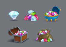 Cartoon Gems Icons Set.