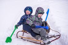 Winter Holidays Fun. Two Boys ...