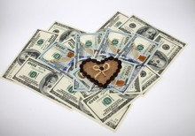 Dollars And Chocolate Heart  Valentines Day