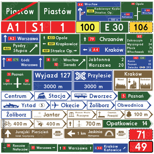 Road signs in Poland. Direction signs. Vector Format