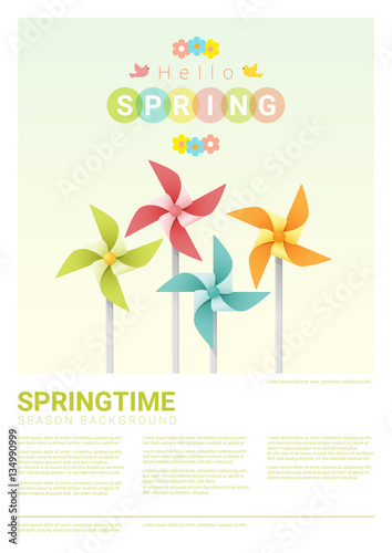 Fényképezés Hello spring background with colorful pinwheels , vector , illustration