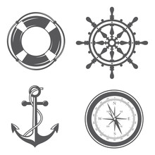Nautical Collection Of Anchor, Ship Helm, Lifebuoy And Compass