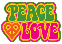 Peace And Love In Green And Pink