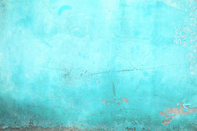 Wall Texture Turquoise Color, Concrete Structure Closeup As An U