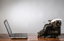 Vintage Typewriter And Laptop....
