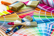 Leinwandbild Motiv Painter and decorator work table with house project, color swatc