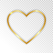 Gold Paper Heart  Isolated On ...