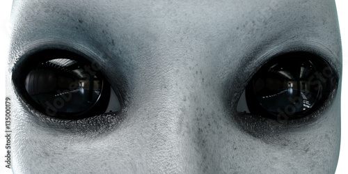 Photo  alien head. close up. UFO concept. isolate. 3d rendering.