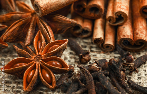 Spices and herbs. Food and cuisine ingredients. Cinnamon sticks, Canvas Print