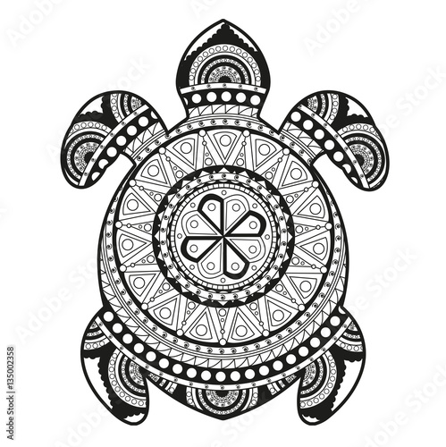 Vector illustration of a turtle mandala for coloring book ...