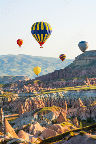 Poster Montgolfière / Dirigeable The great tourist attraction of Cappadocia - balloon flight. Cap